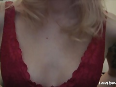 Raunchy blonde shows tits and...