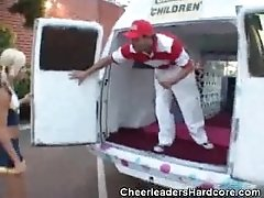 Cheerleader Sucks On Ice Cream...