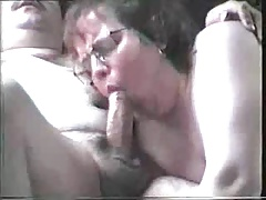 White Mature Sucks a Small Cock...