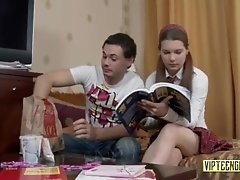 Russian schoolgirl tutors guy in...