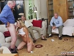 Amateur brunette old man and old...