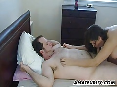 Busty amateur GF sucks and fucks...